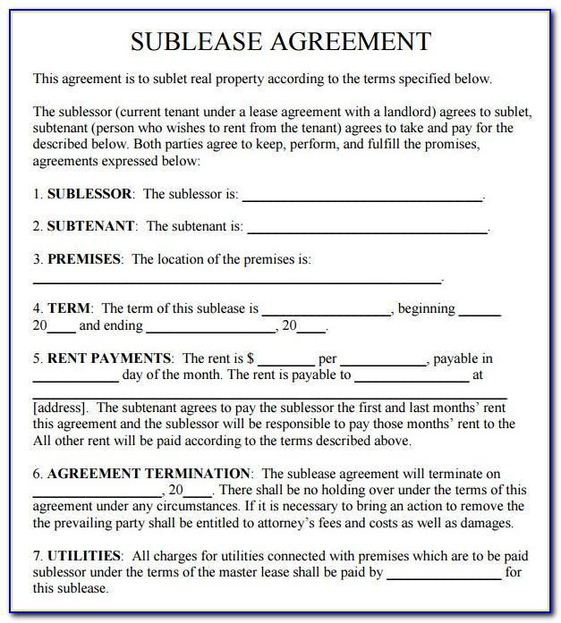 Sublet Agreement Form Pdf