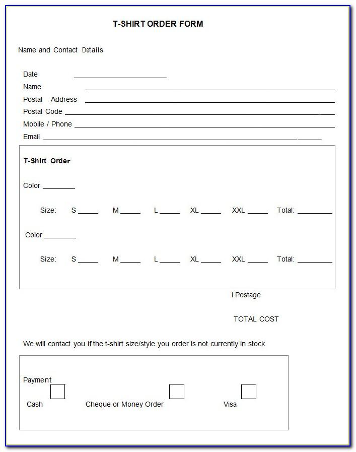 Sweatshirt Order Form Template
