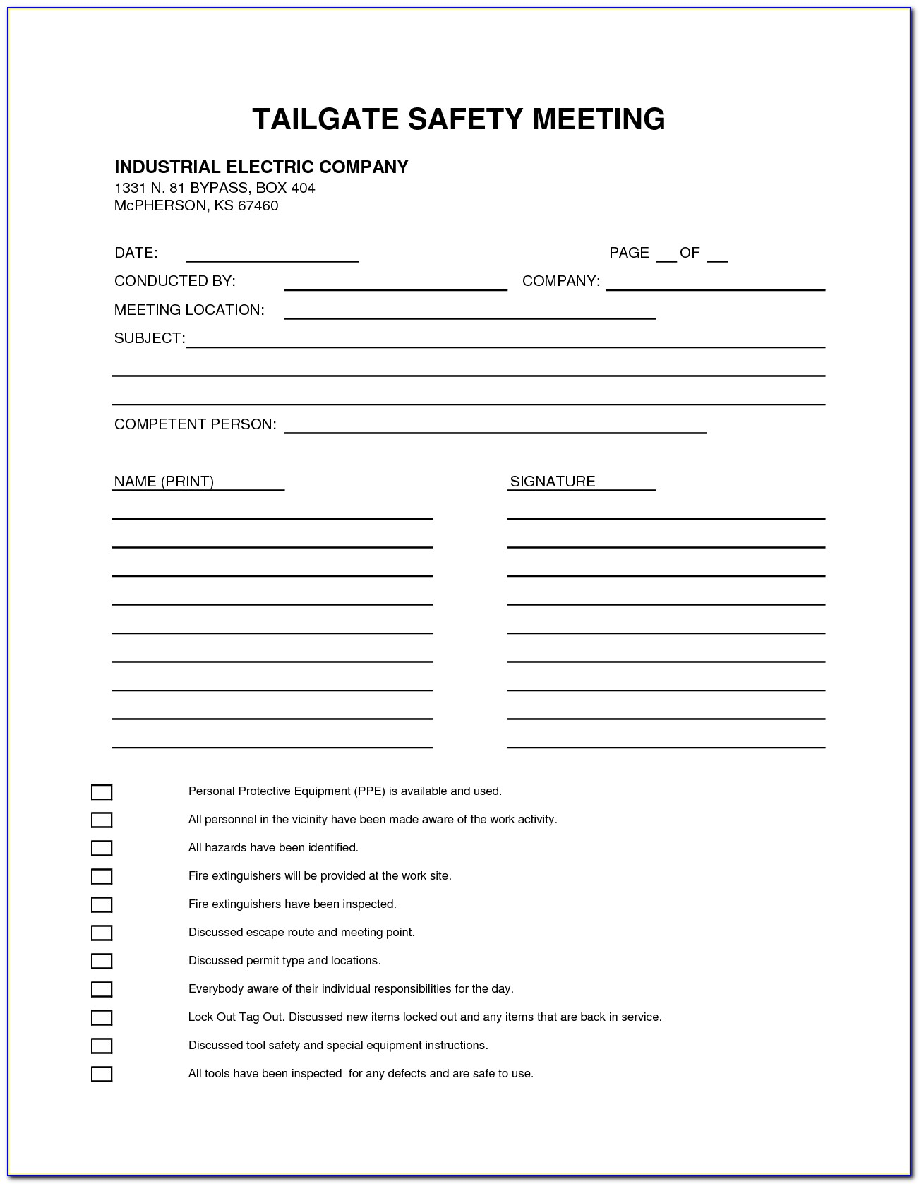 Tailboard Meeting Form