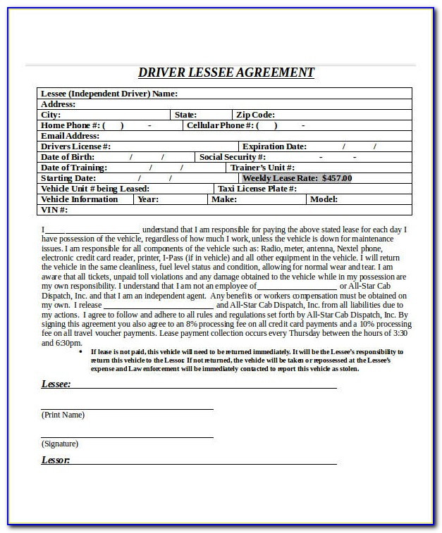 Taxi Driver Application Form London