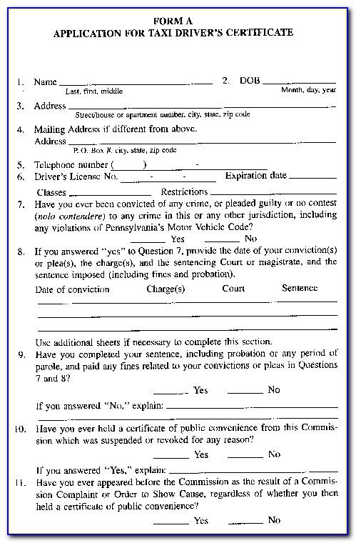 Taxi Driver Application Form Victoria