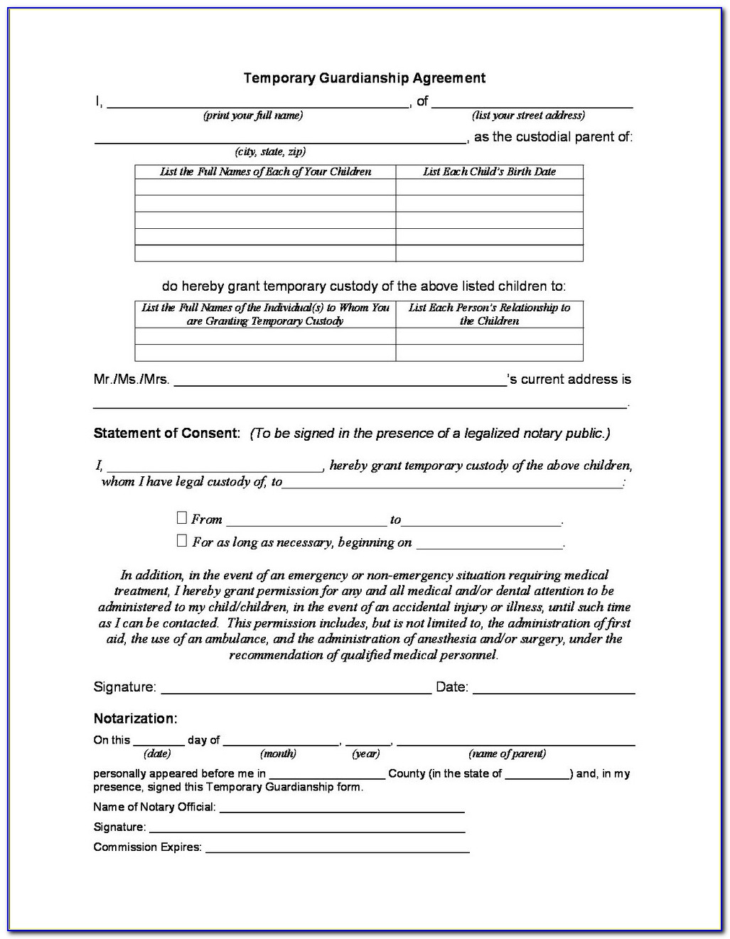 Temporary Custody Form Ohio