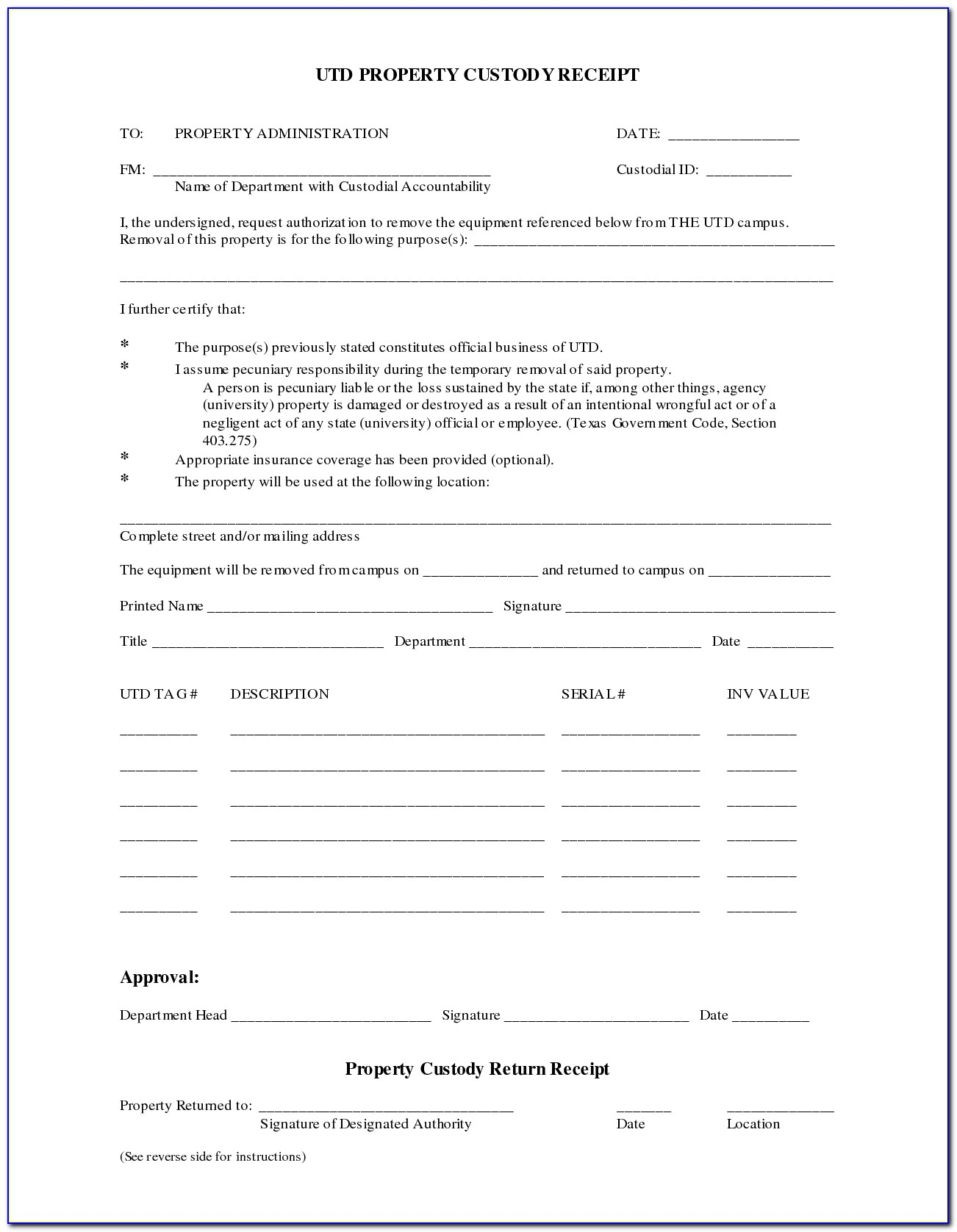 Temporary Custody Forms Texas Child