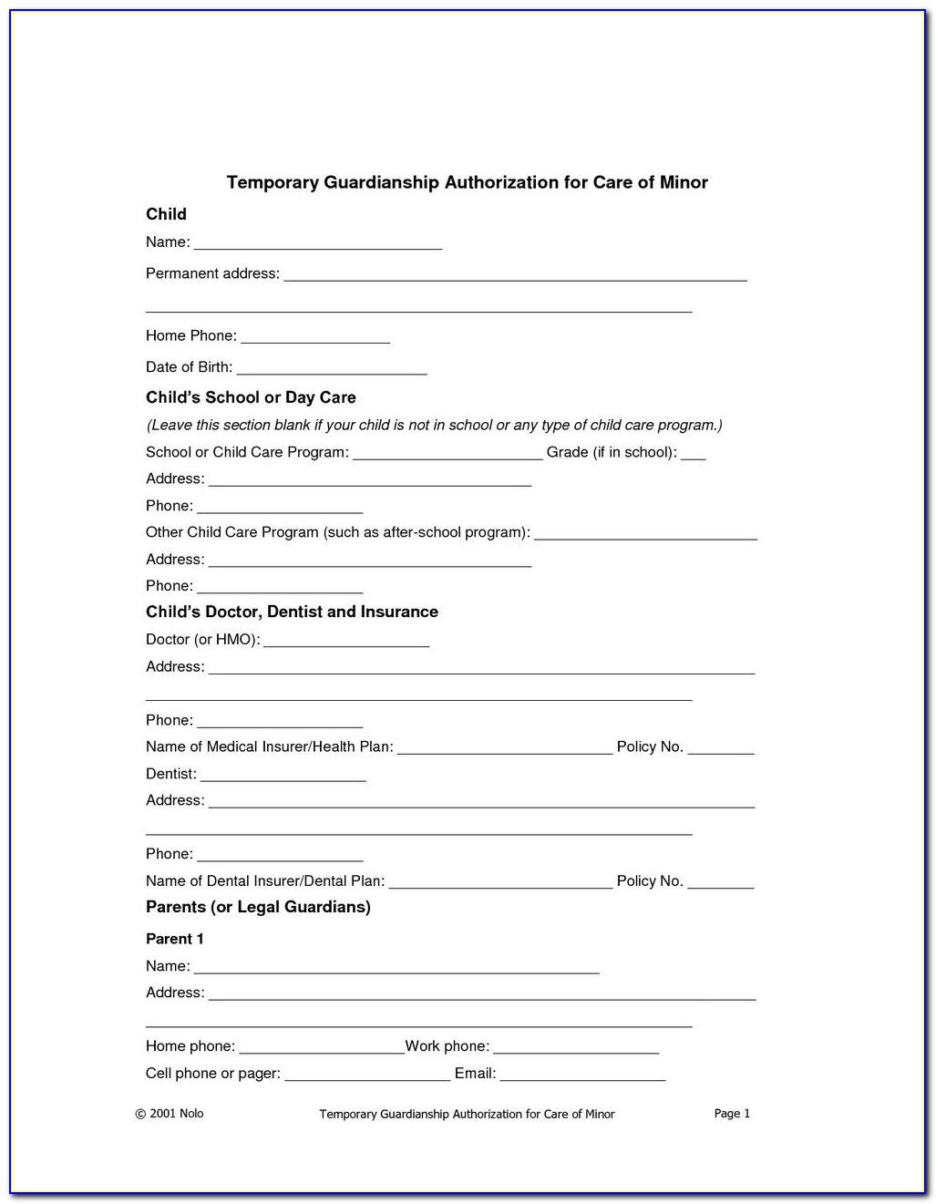 Temporary Custody Order Form Texas