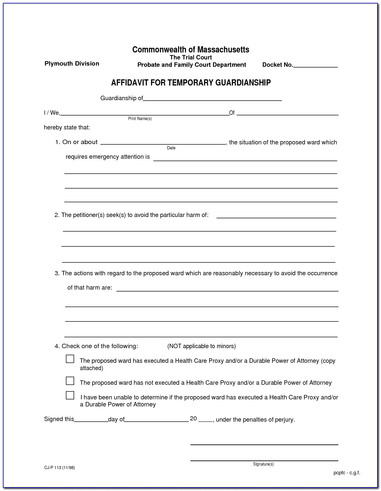 Best S Of Temporary Guardianship Form Florida Free Temporary Temporary Guardianship Letter