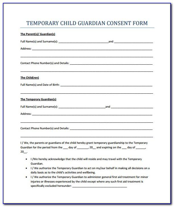 Temporary Guardianship Form Pdf