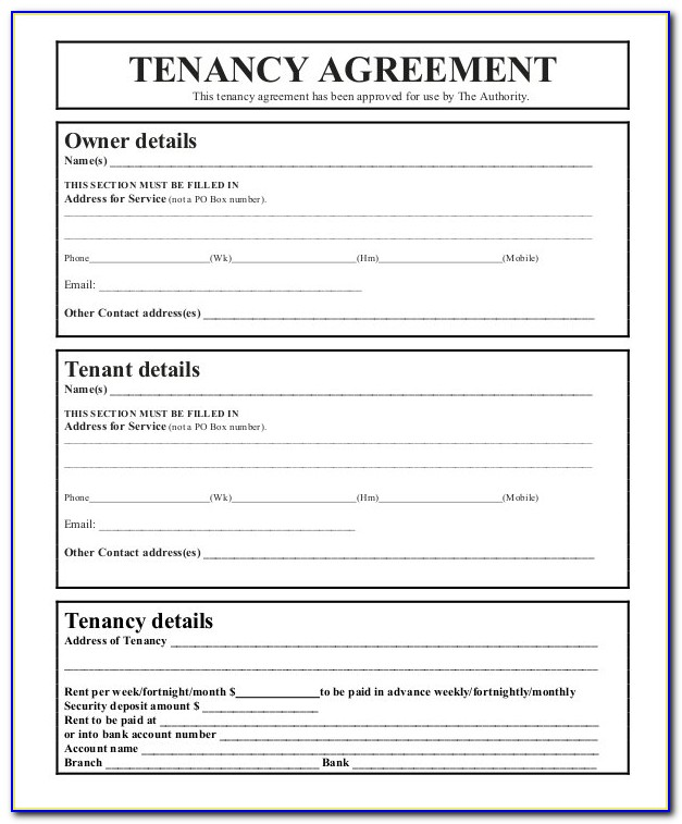 Tenancy Application Form Nsw Fair Trading