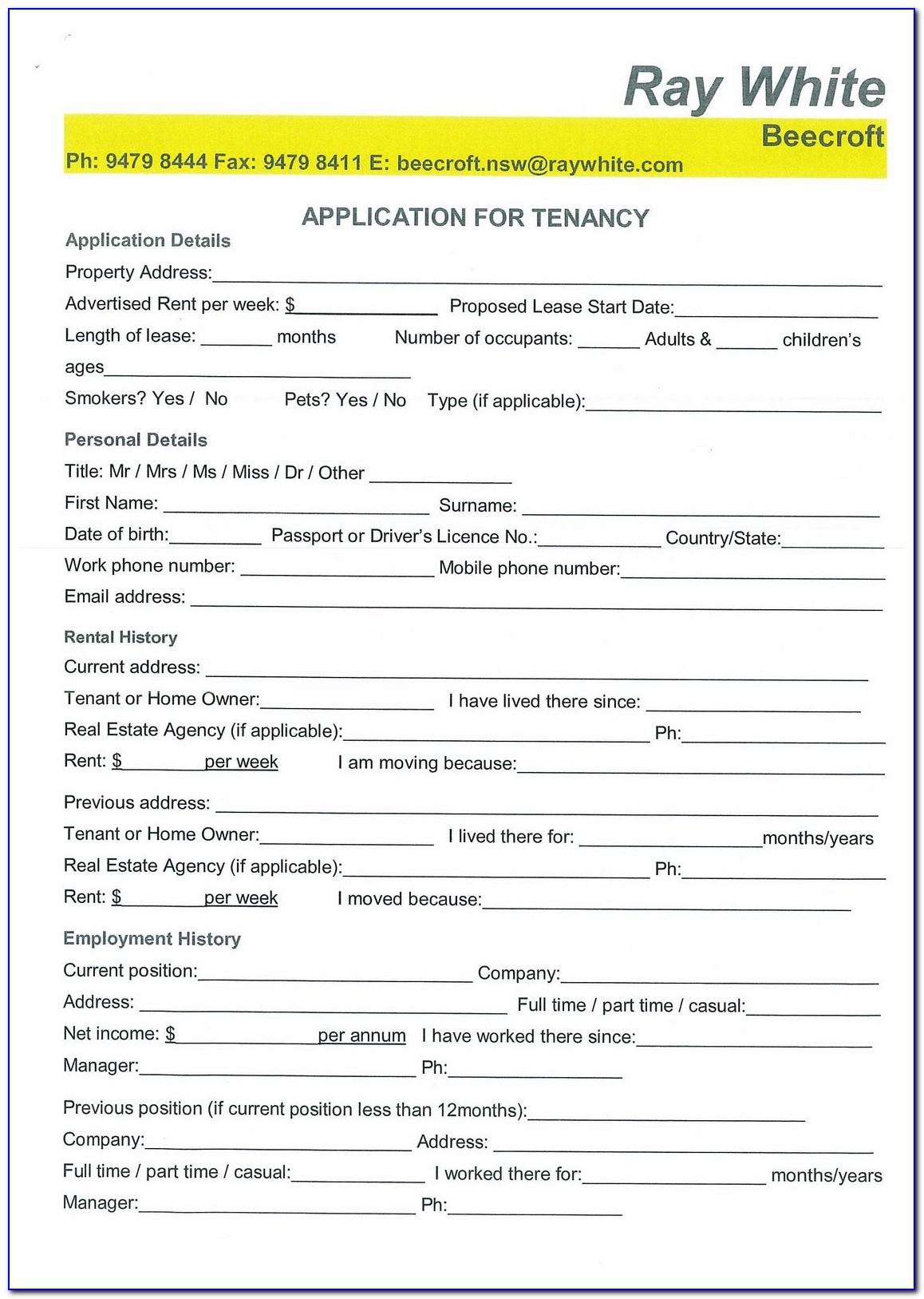 Tenancy Application Form Nz