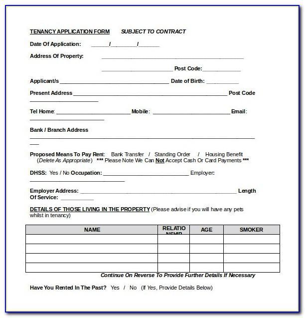 Tenancy Application Form Qld