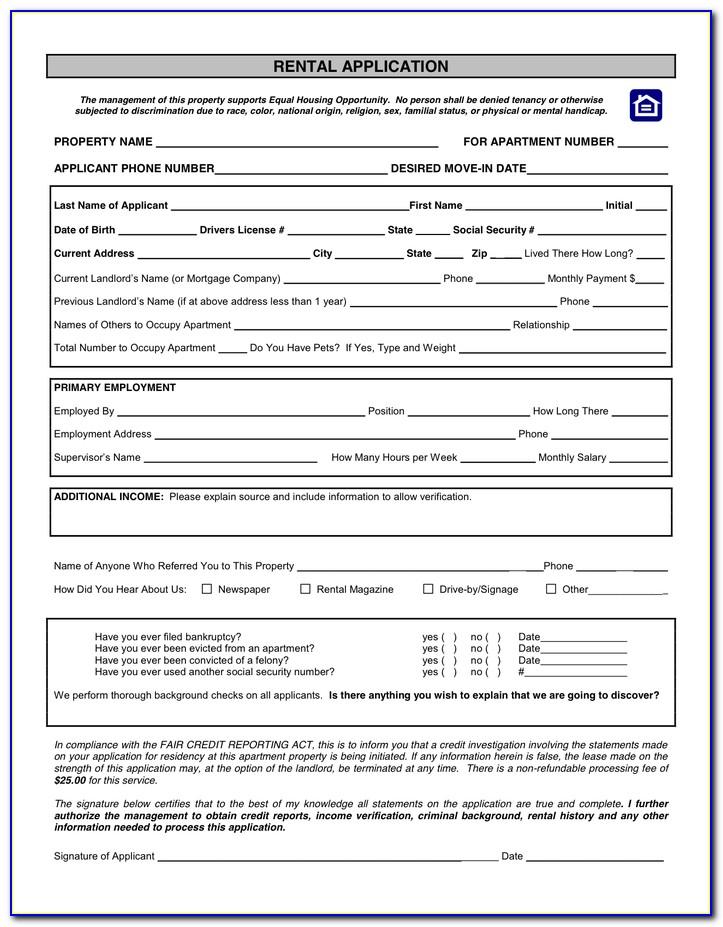 Tenancy Application Form Uk