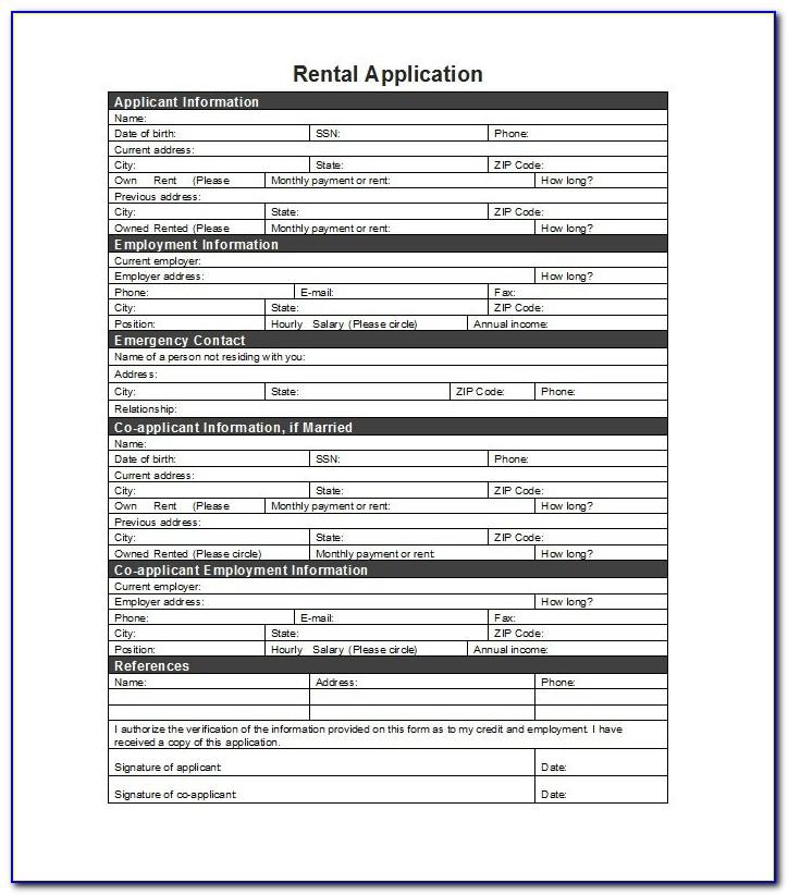 Tenancy Application Form Wa
