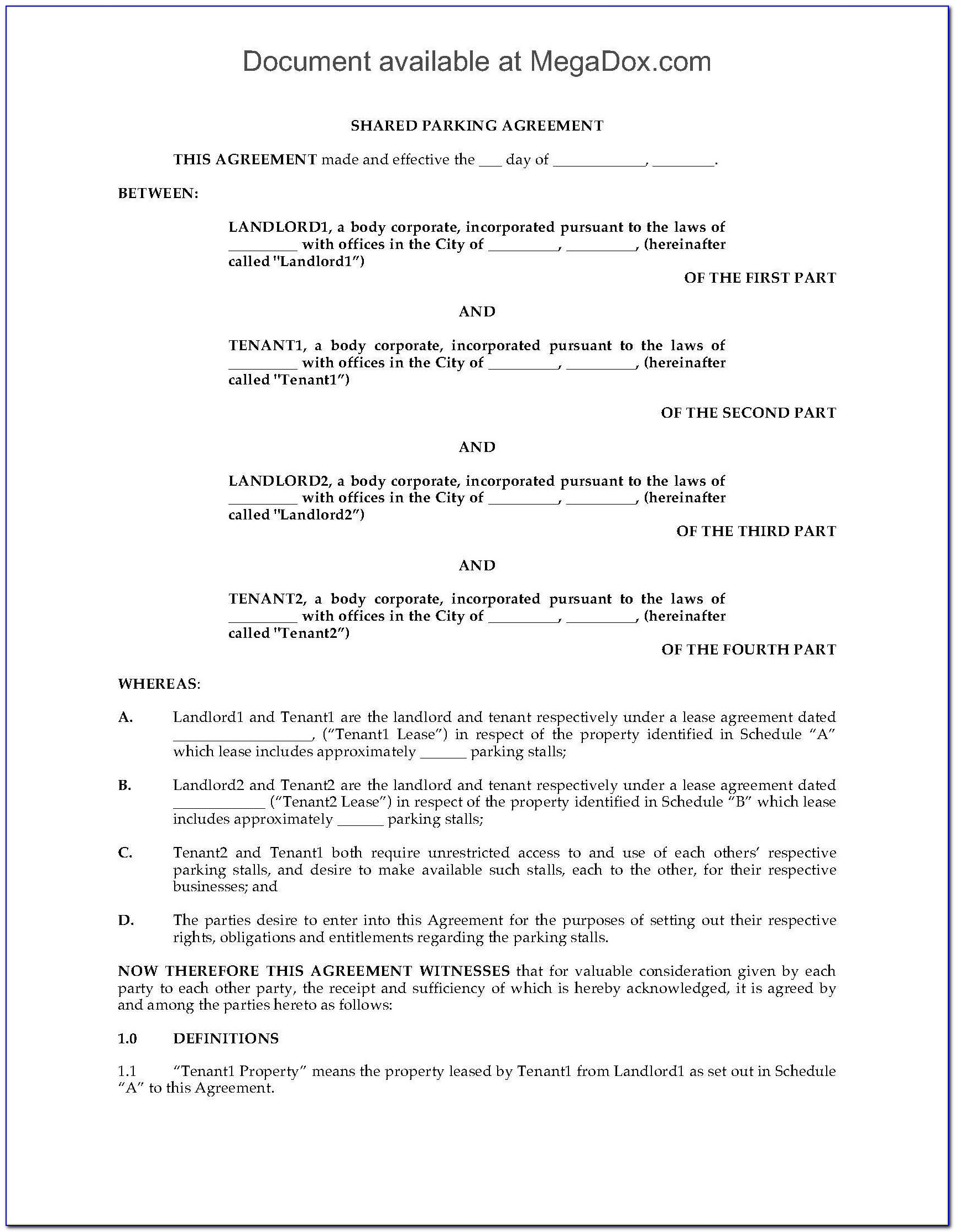 Tenancy In Common Agreement Inspirational D Parking Agreement