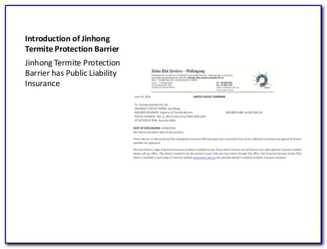 Termite Treatment Warranty Form