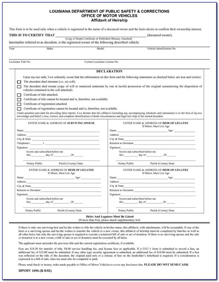 Texas Comptroller Affidavit Of Heirship Form