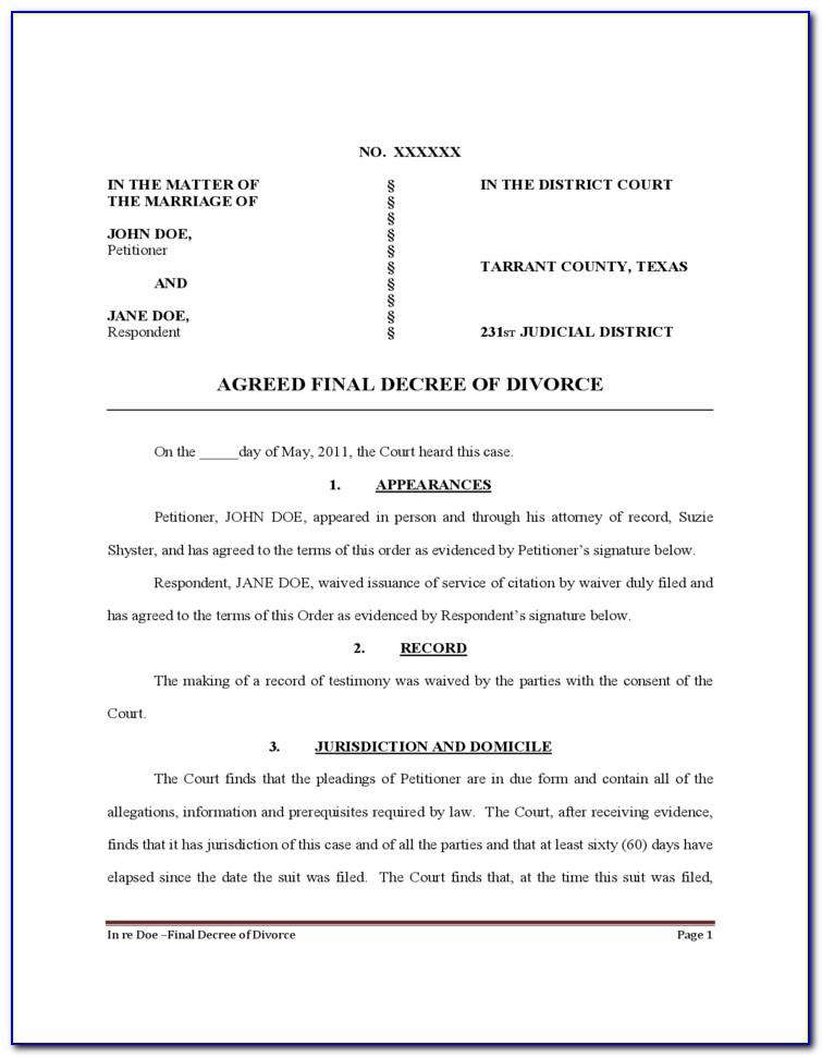 Texas Divorce Decree Forms