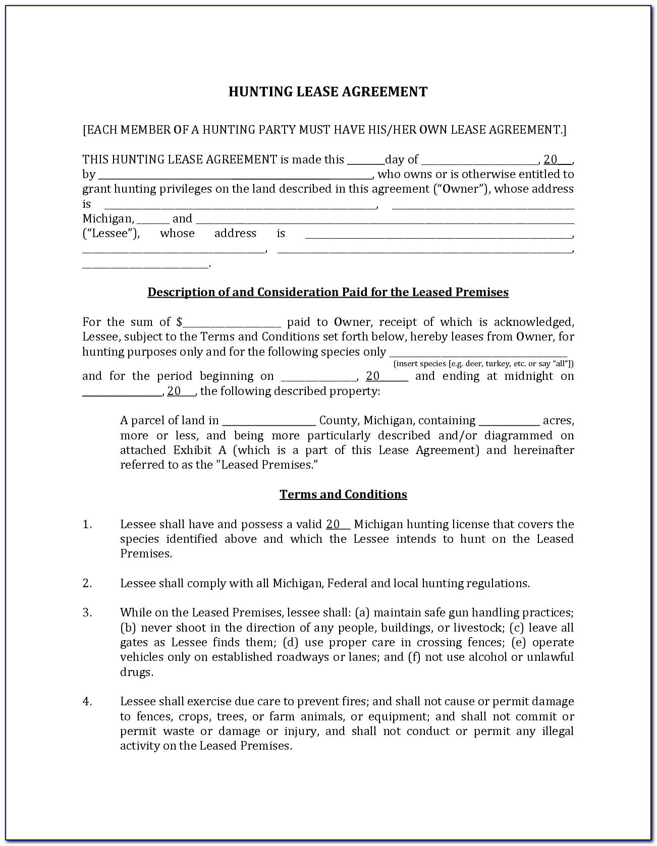 Texas Hunting Lease Agreement Form
