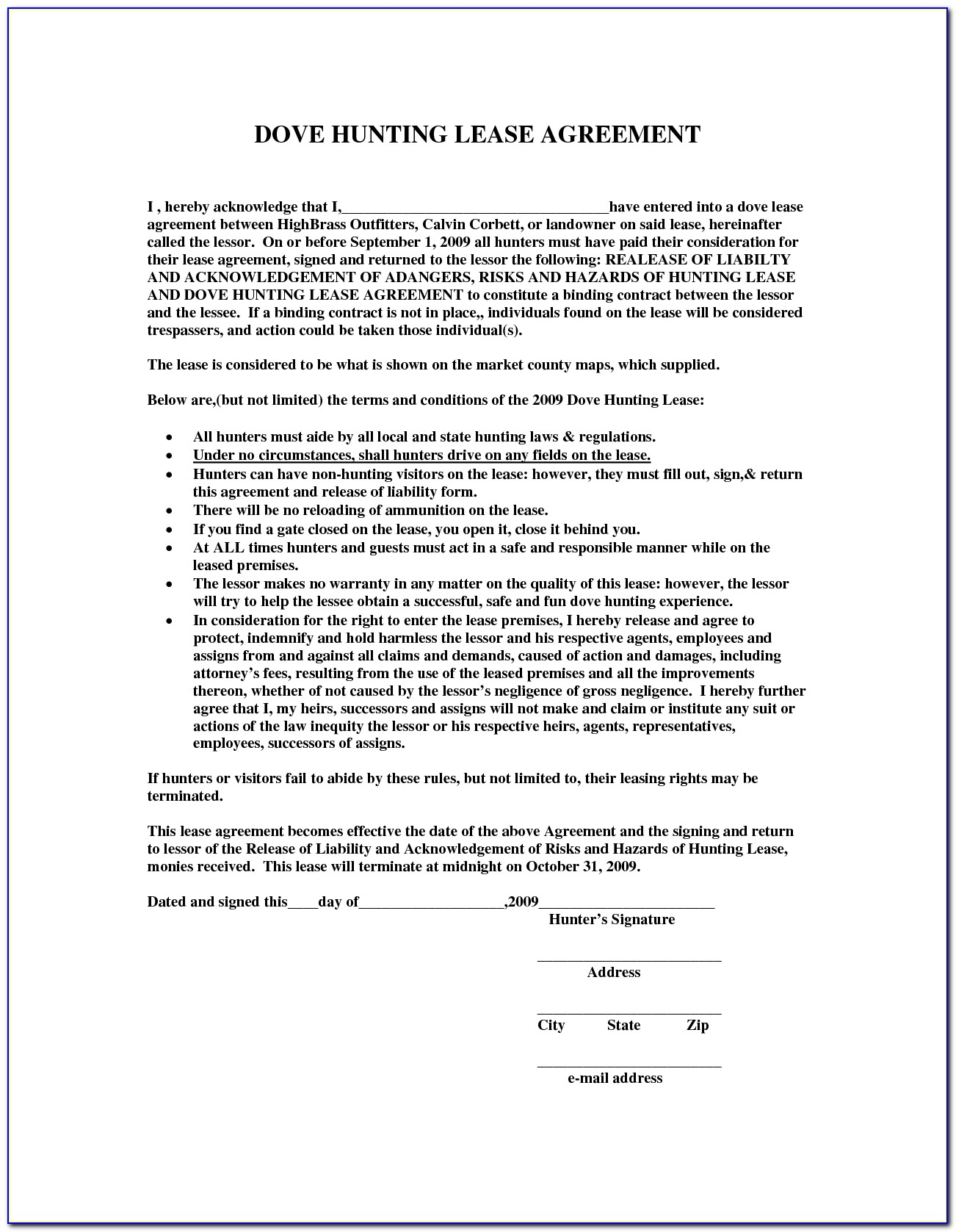 Texas Hunting Lease Agreement Sample