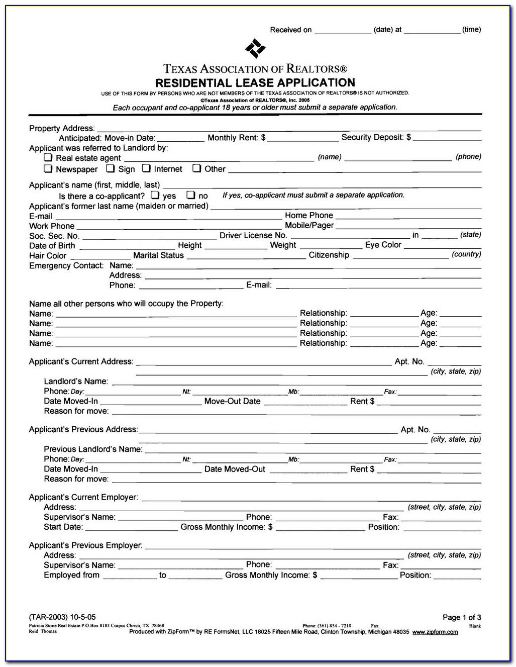 Texas Lease Agreement Form