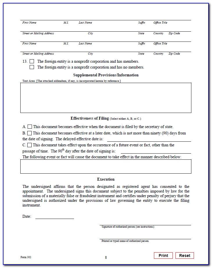 Texas Llc Form 807
