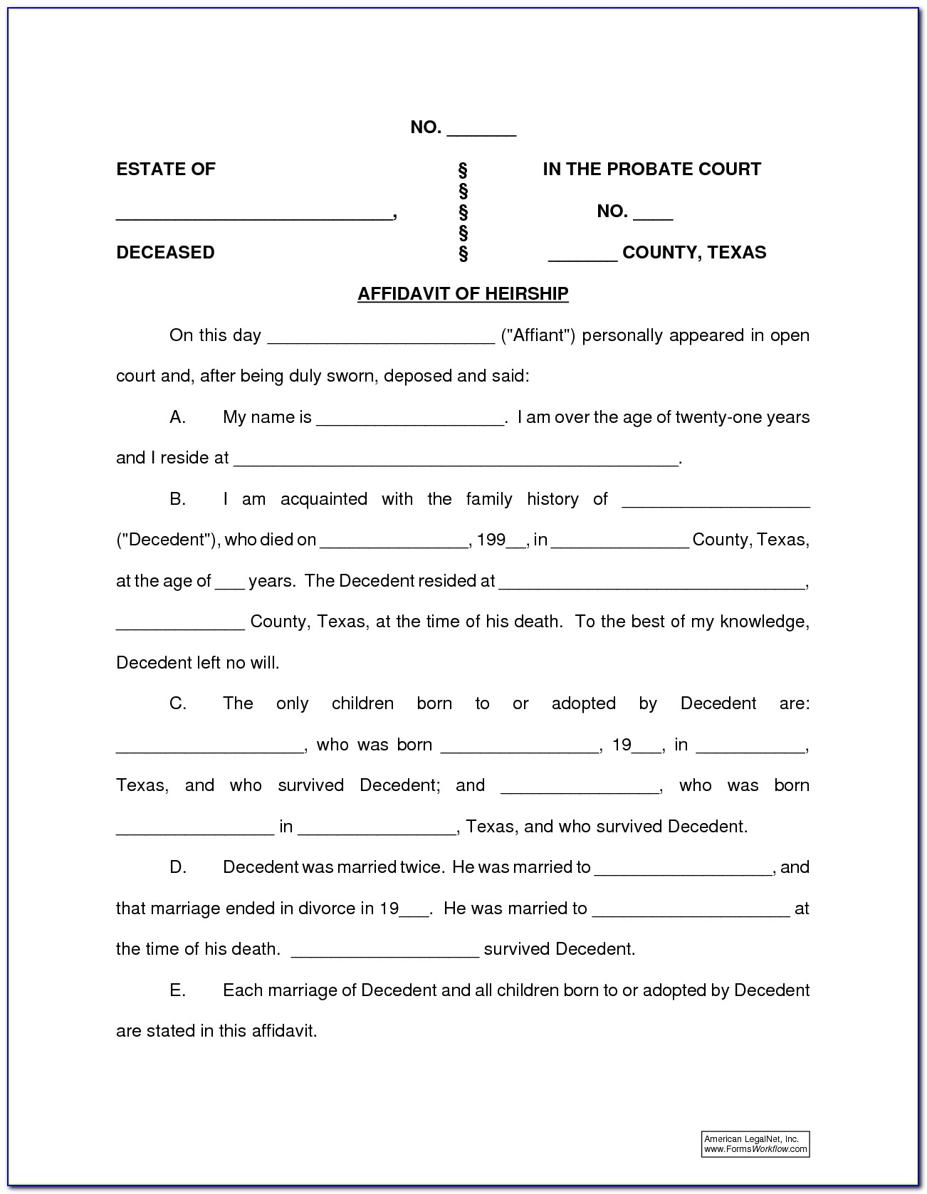 Texas Probate Forms Affidavit Of Heirship