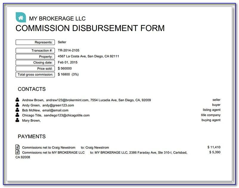 Texas Real Estate Commission Disbursement Form