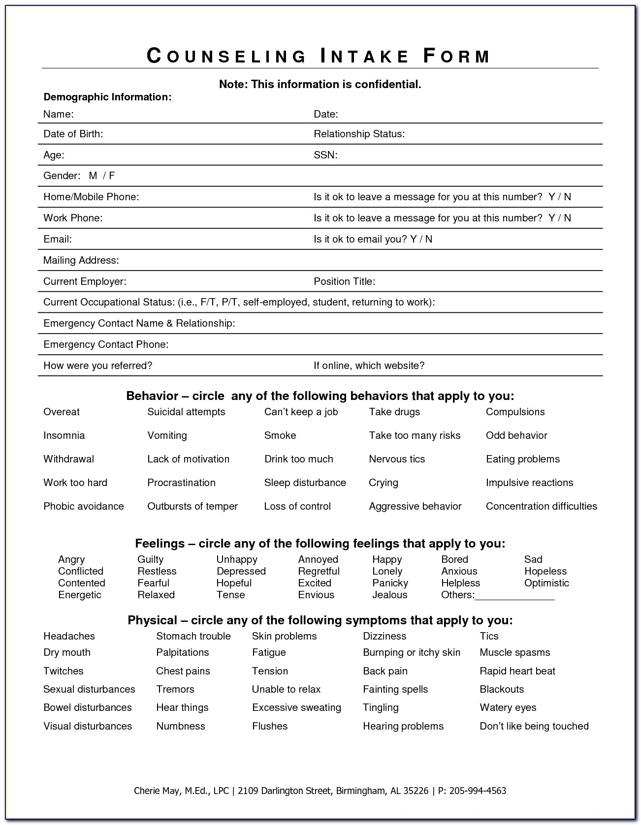 Therapy Intake Forms