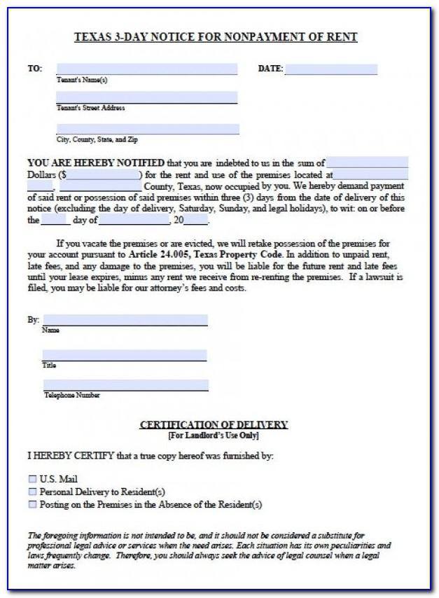 Three Day Eviction Notice Texas Form