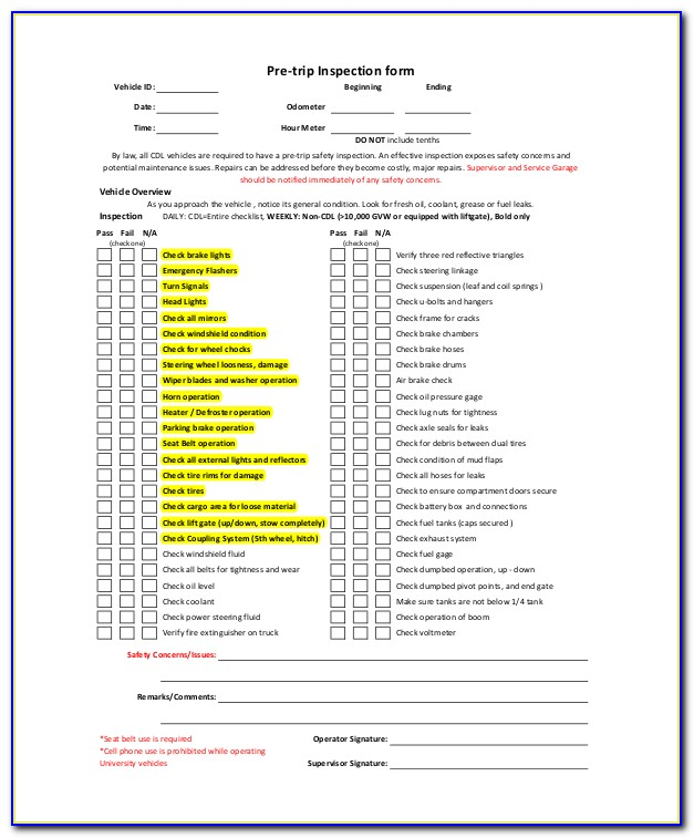 Truck Pre Trip Inspection Form