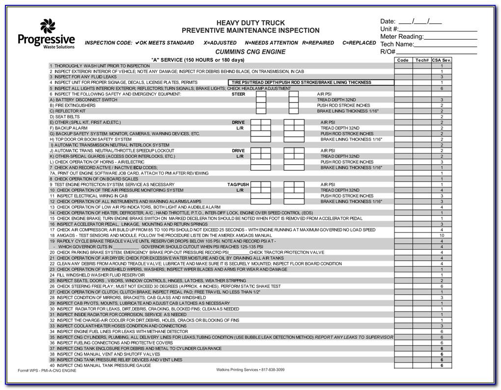 Truck Preventive Maintenance Forms