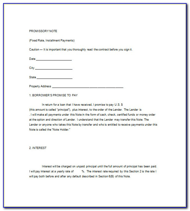 Unsecured Promissory Note Form