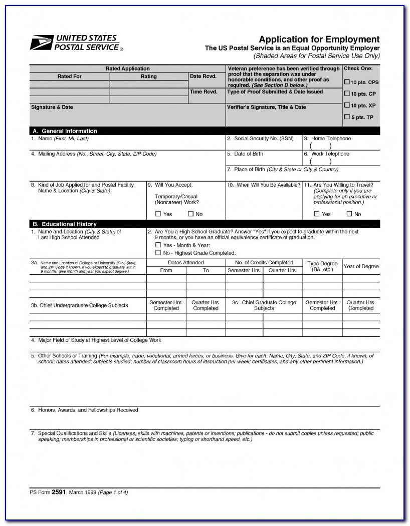 Usps Employment Application Form