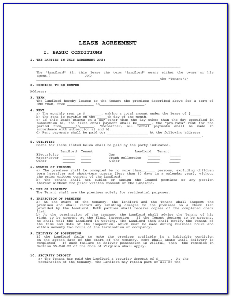 Virginia Rental Agreement Forms Free