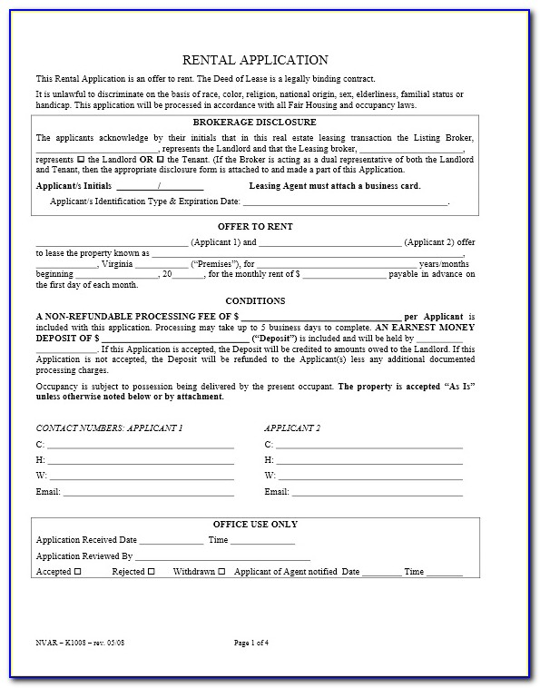 Virginia Rental Application Form Free