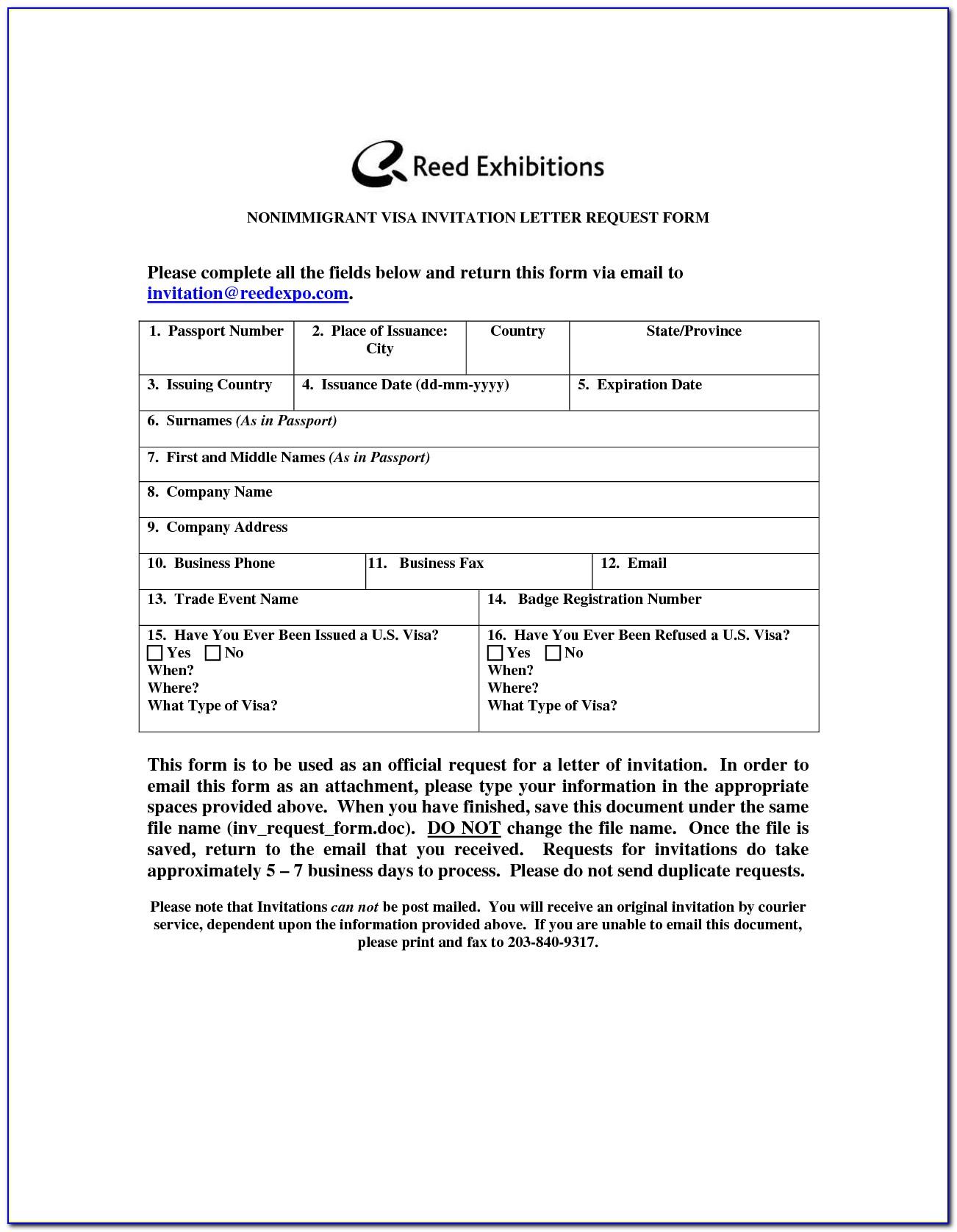 Visa Invitation Form Uk