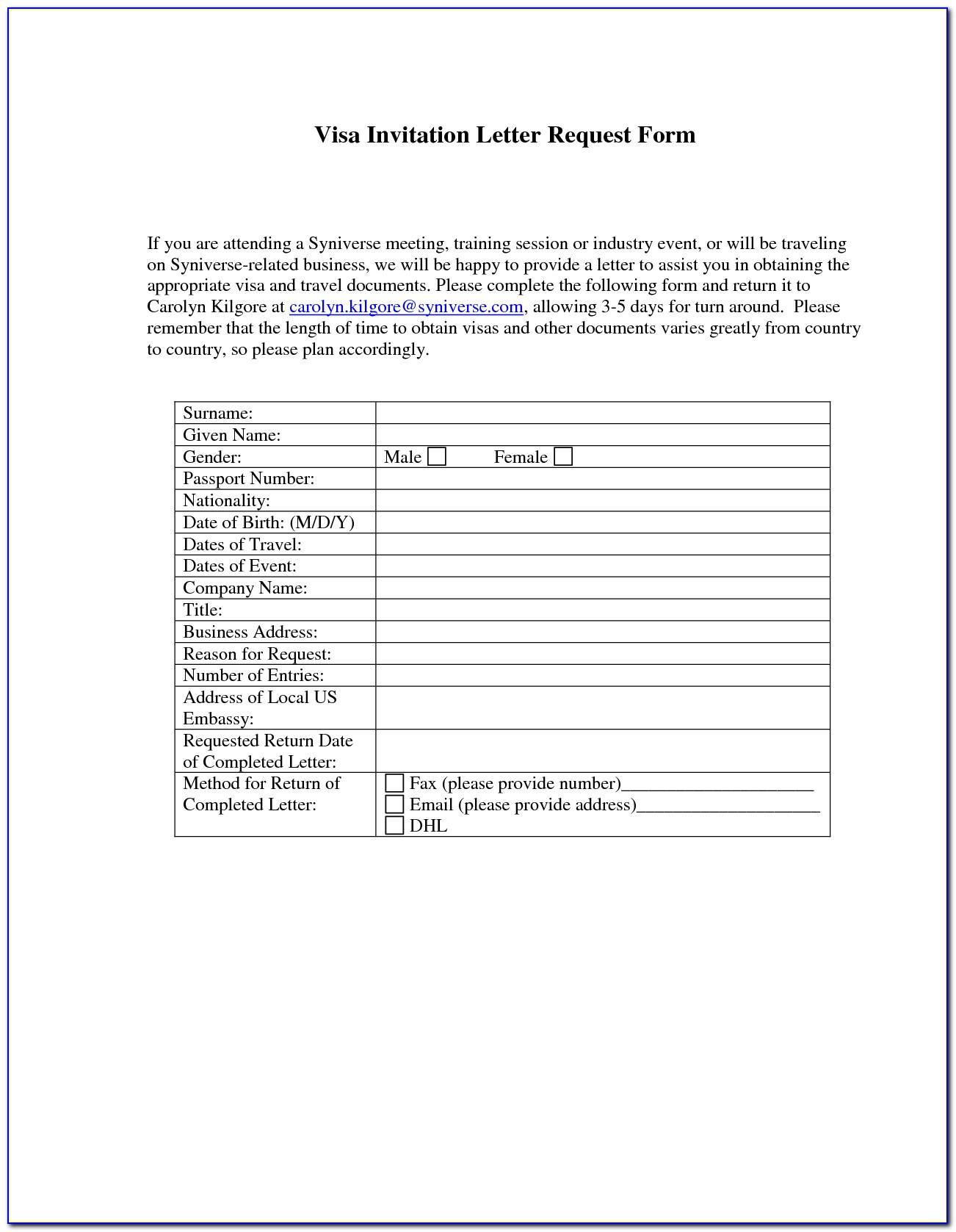 Visa Invitation Form Usa