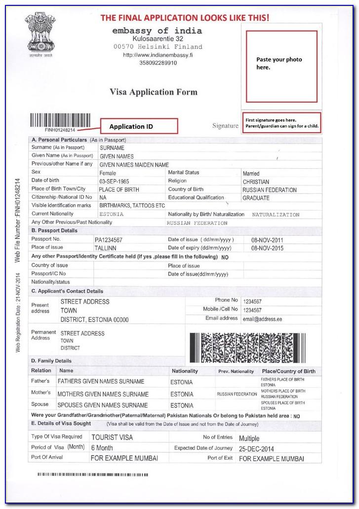 Visa Online India Form