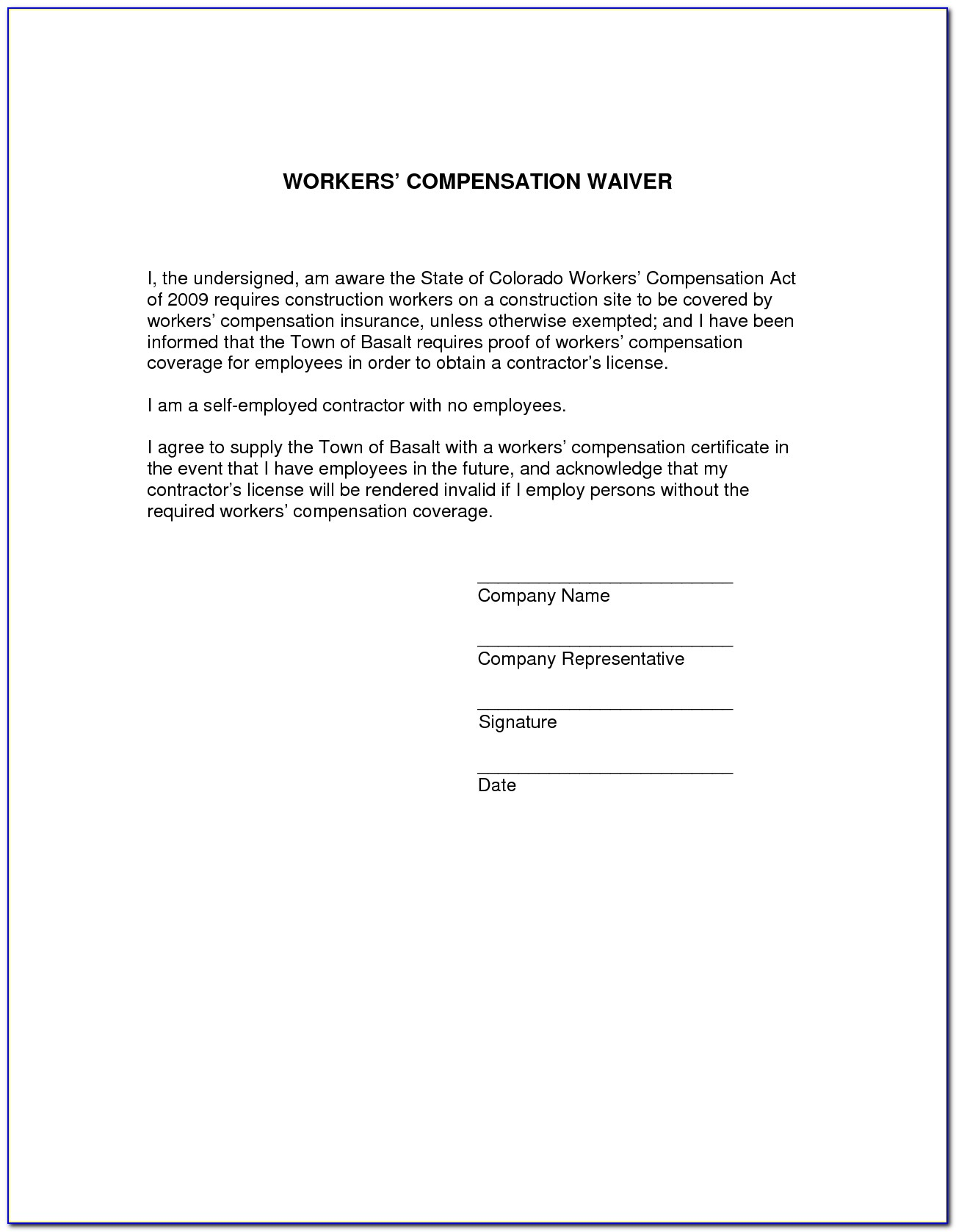 Waiver Of Subrogation Workers Compensation Form