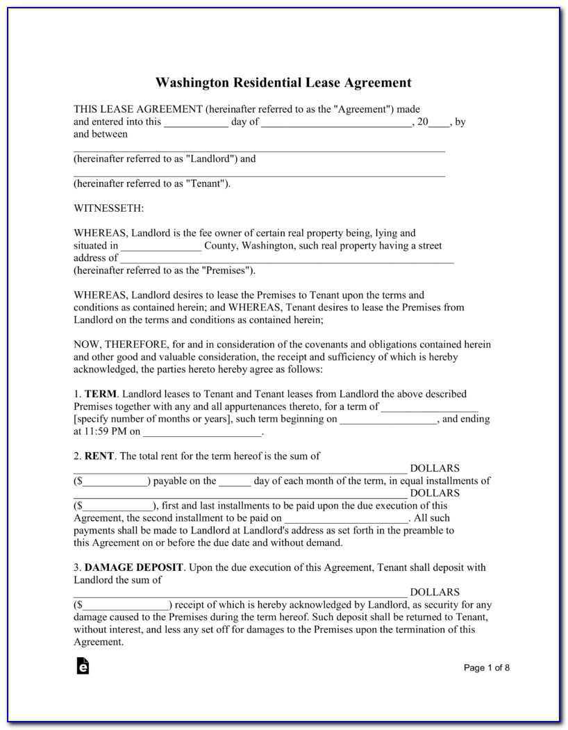 Washington State Rental Agreement Forms Free