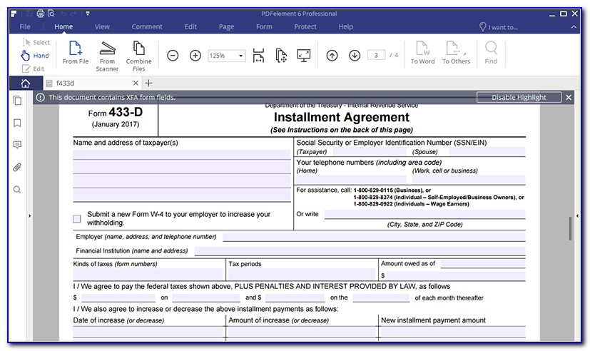 Where To Mail Irs Form 433 D Texas