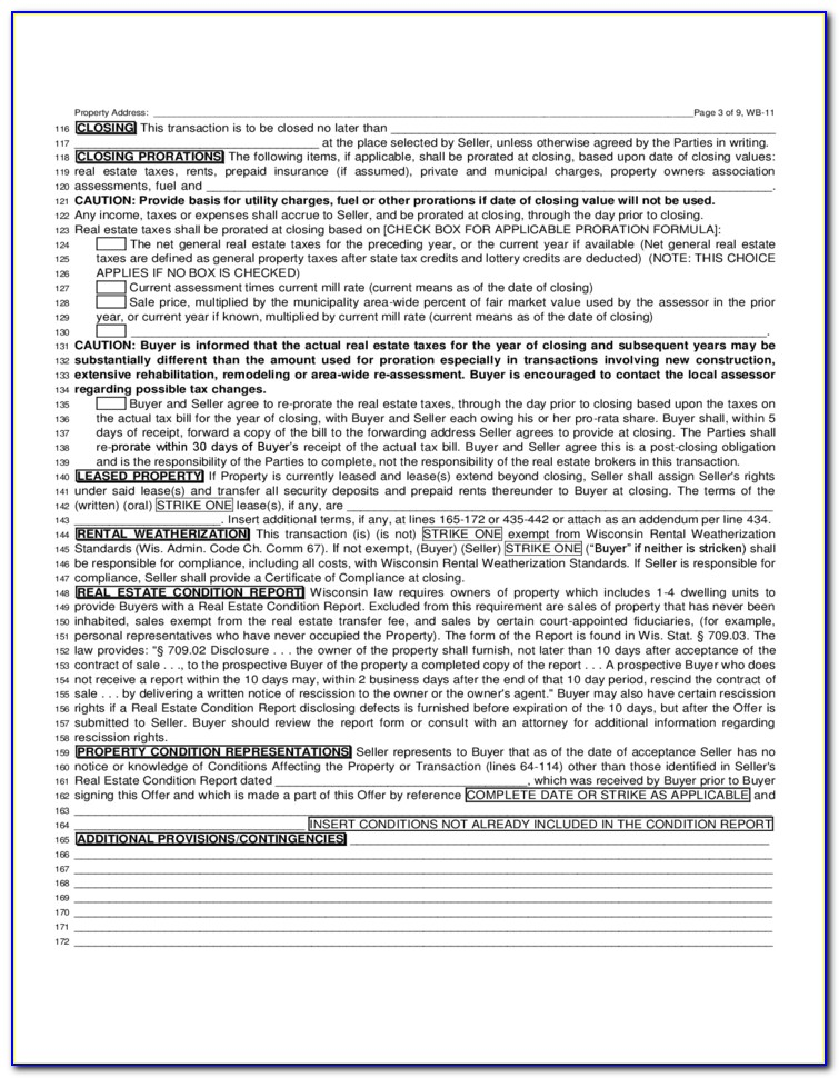 Wi Real Estate Offer To Purchase Form