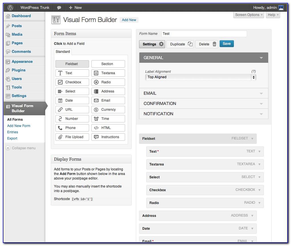 Wordpress Form Builder Dynamic Fields