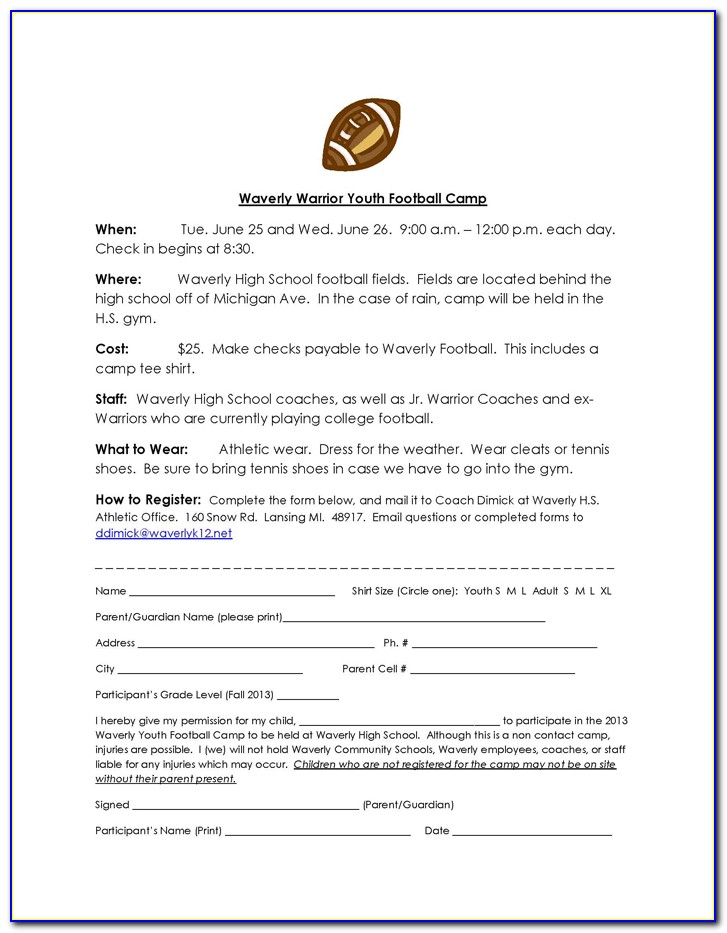 Youth Football Camp Registration Form Template