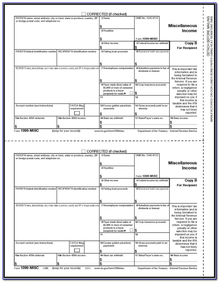 1099 Misc Laser Tax Forms 50 Pack