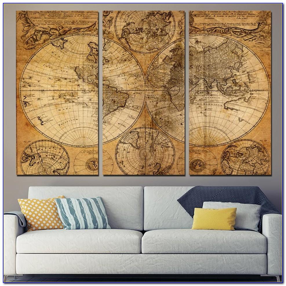 3 Panel World Map Wall Art