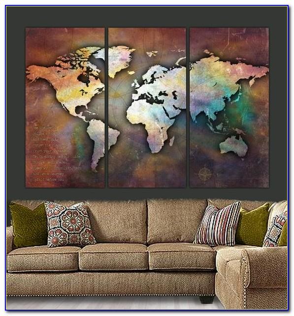 3 Piece World Map Wall Art