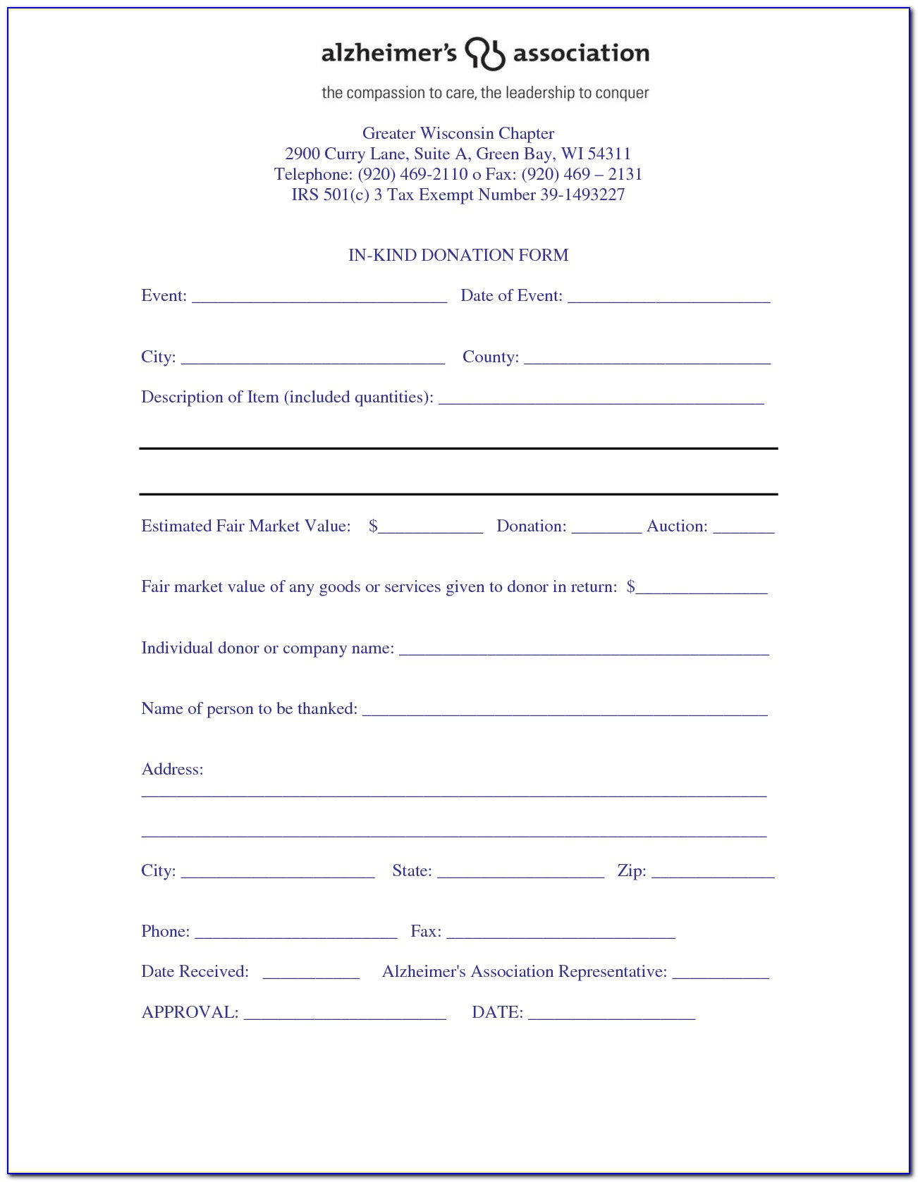501c3 Donation Form Template
