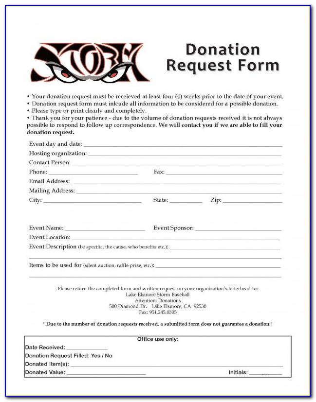 501c3 Donation Request Form