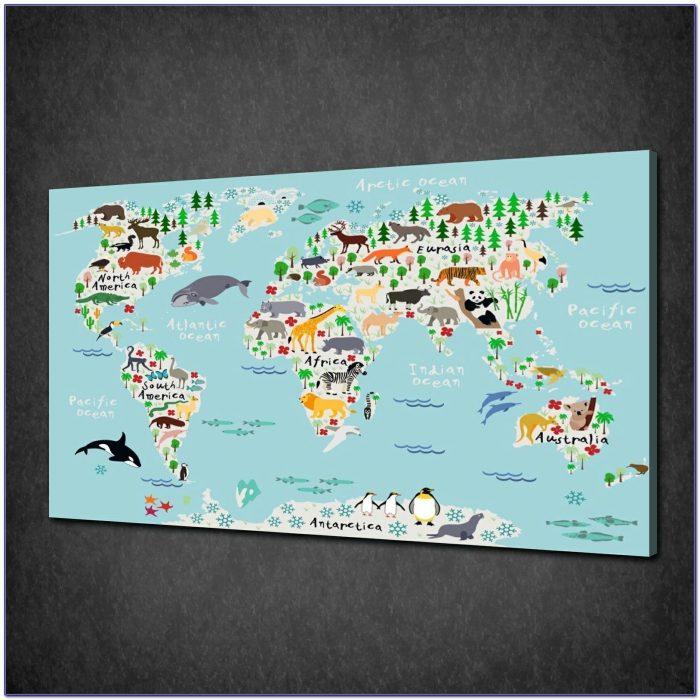 5pcs Retro World Map Printed Canvas Print Unframed Wall Art