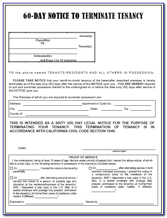 60 Day Eviction Notice California Form