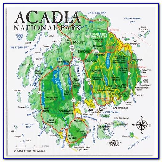 Acadia National Park Hiking Biking Trail Map